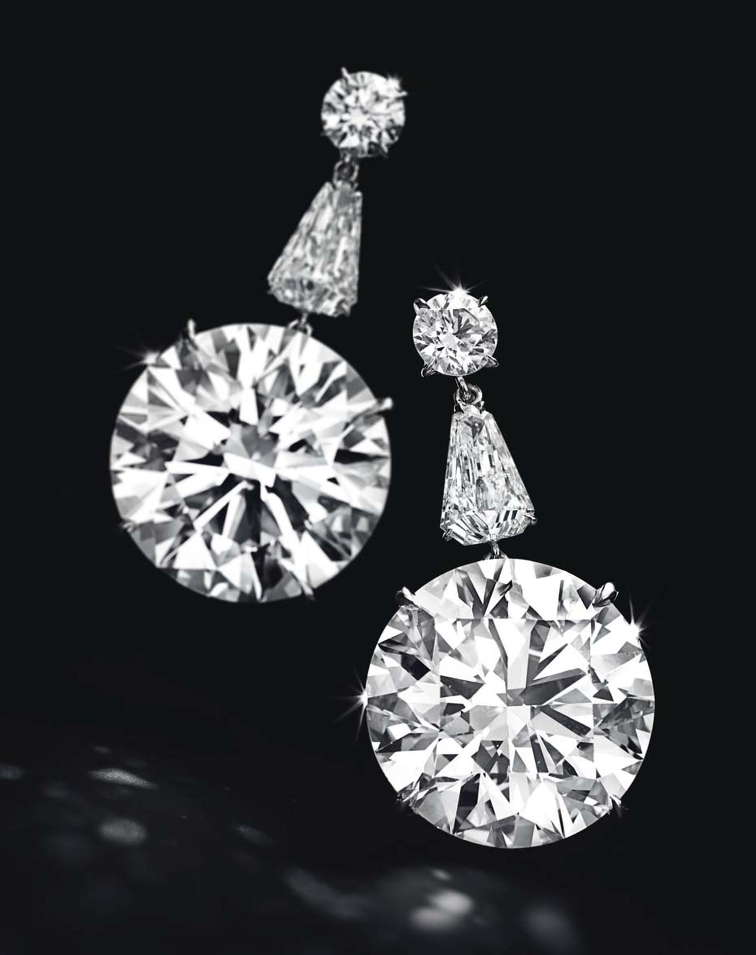 Lot 255, a sensational pair of diamond ear pendants, each set with a circular-cut diamond weighing approximately 22.50 and 22.31ct, mounted in platinum (estimate: US$7-10 million)