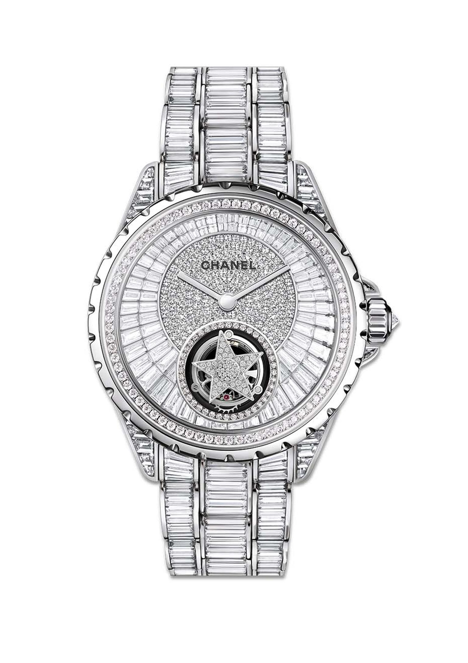 The Chanel J12 Flying Tourbillon is worth a cool €1 million. The precision-regulating tourbillon, which rotates once a minute, is used to set a diamond star spinning on the dial of the watch, surrounded by baguette-cut diamonds on the dial, case and brace