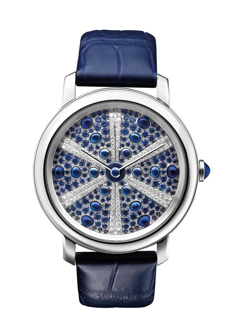 Reminiscent of a sea urchin, the Boucheron Epure Oursin features blue cabochon sapphires and diamonds that decrease in size as they move towards the middle of the dial