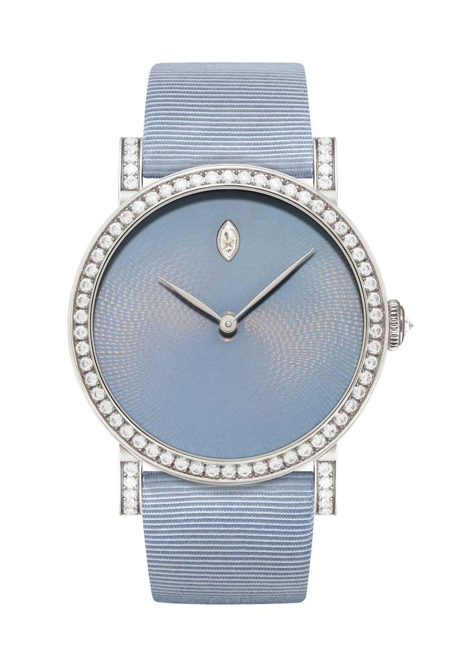 DeLaneau's Rondo Translucent Hoar Frost watch, with a diamond-set bezel. The colour of the guilloché enamel dial is as mysterious as a grayish violet winter morning