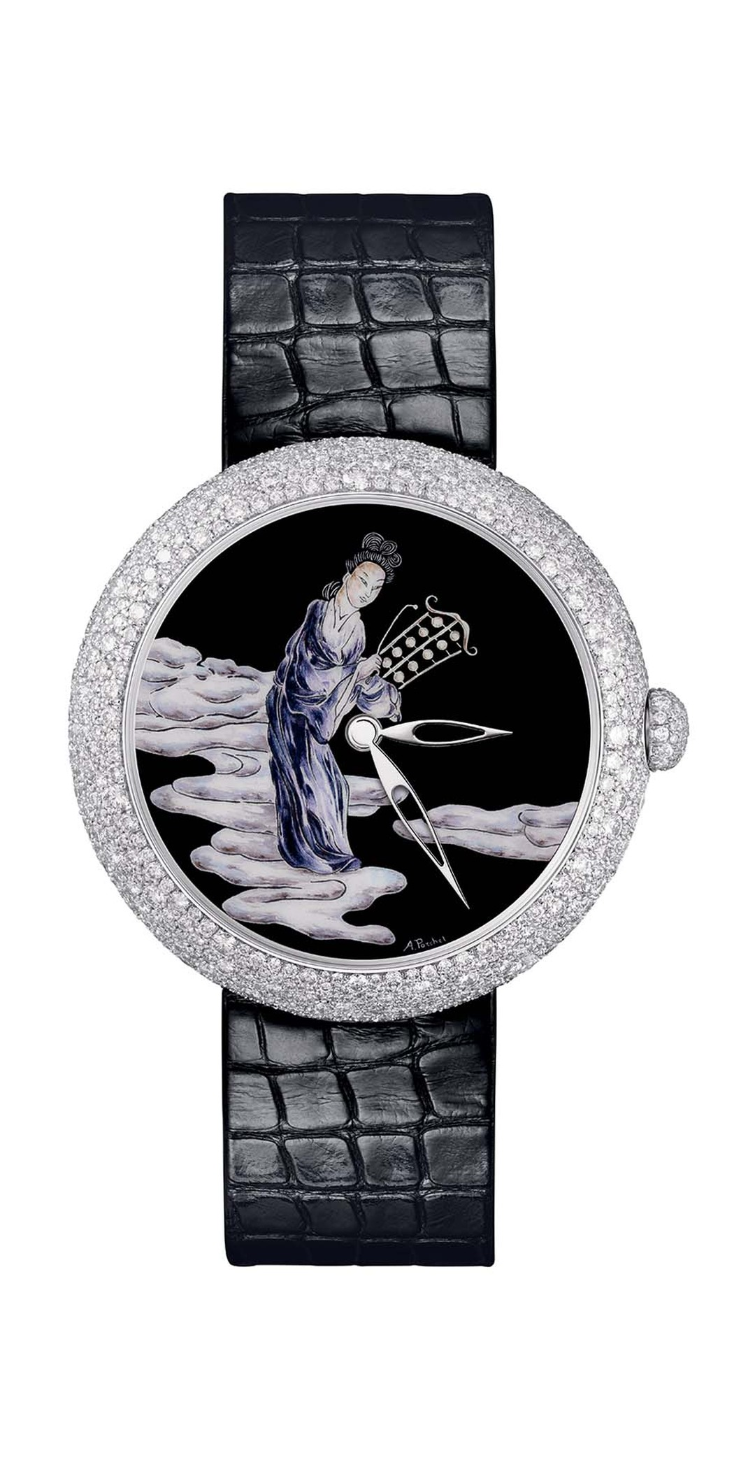 Chanel Mademoiselle Privé Coromandel watch in white gold, one of two watches that form the Coromandel Dial Set, with a Grand Feu enamel dial, snow-set with diamonds