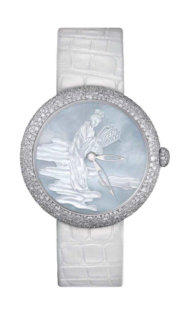 moiselle Privé Coromandel watch in white gold, one of two watches that form the Coromandel Dial Set, with a sculpted mother-of-pearl dial, snow-set with diamonds