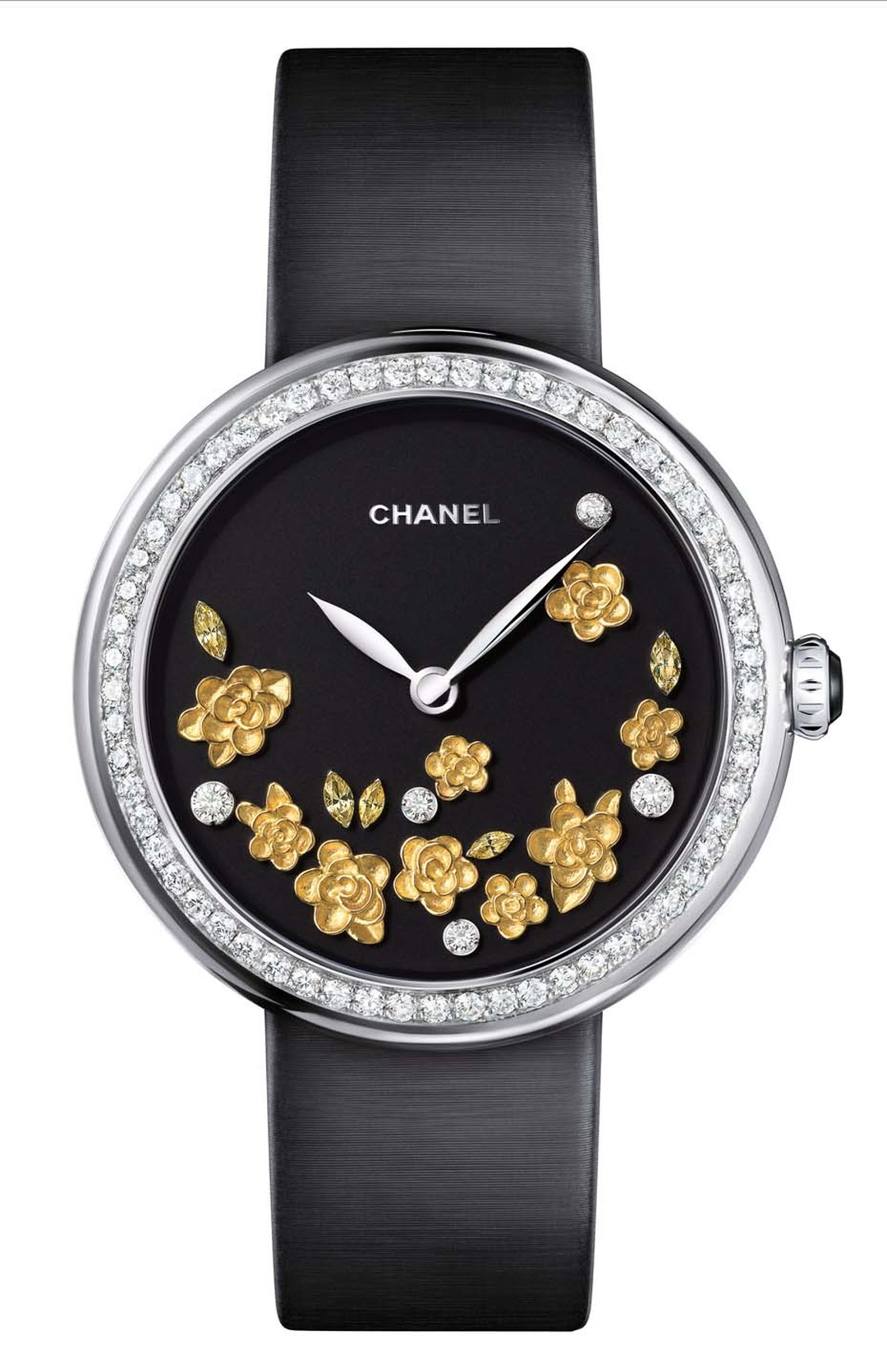 Chanel Mademoiselle Privé Gold Camellia Motif watch in white gold, with hand-engraved yellow gold camellias, diamonds and yellow sapphires on the dial and 60 brilliant-cut diamonds around the bezel