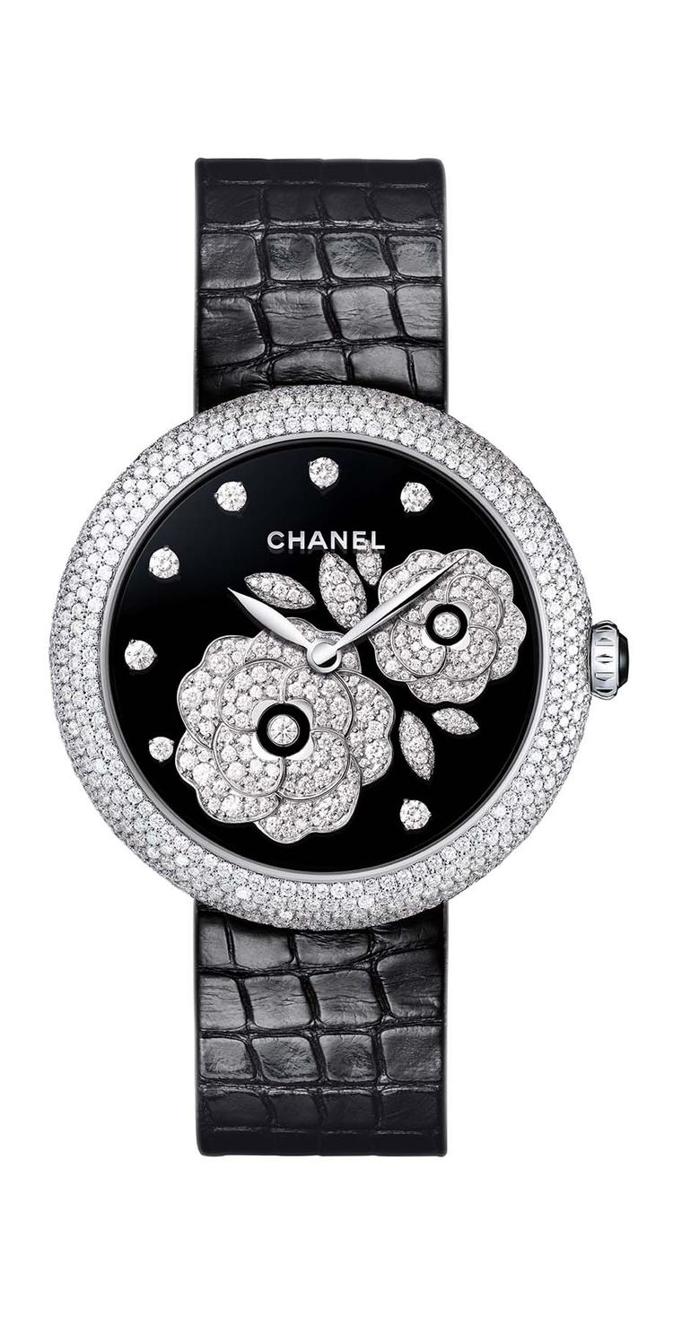 Chanel Mademoiselle Privé Bouton de Camellia watch in white gold, with a black Grand Feu enamel dial decorated with the Bouton de Camellia motif in diamonds