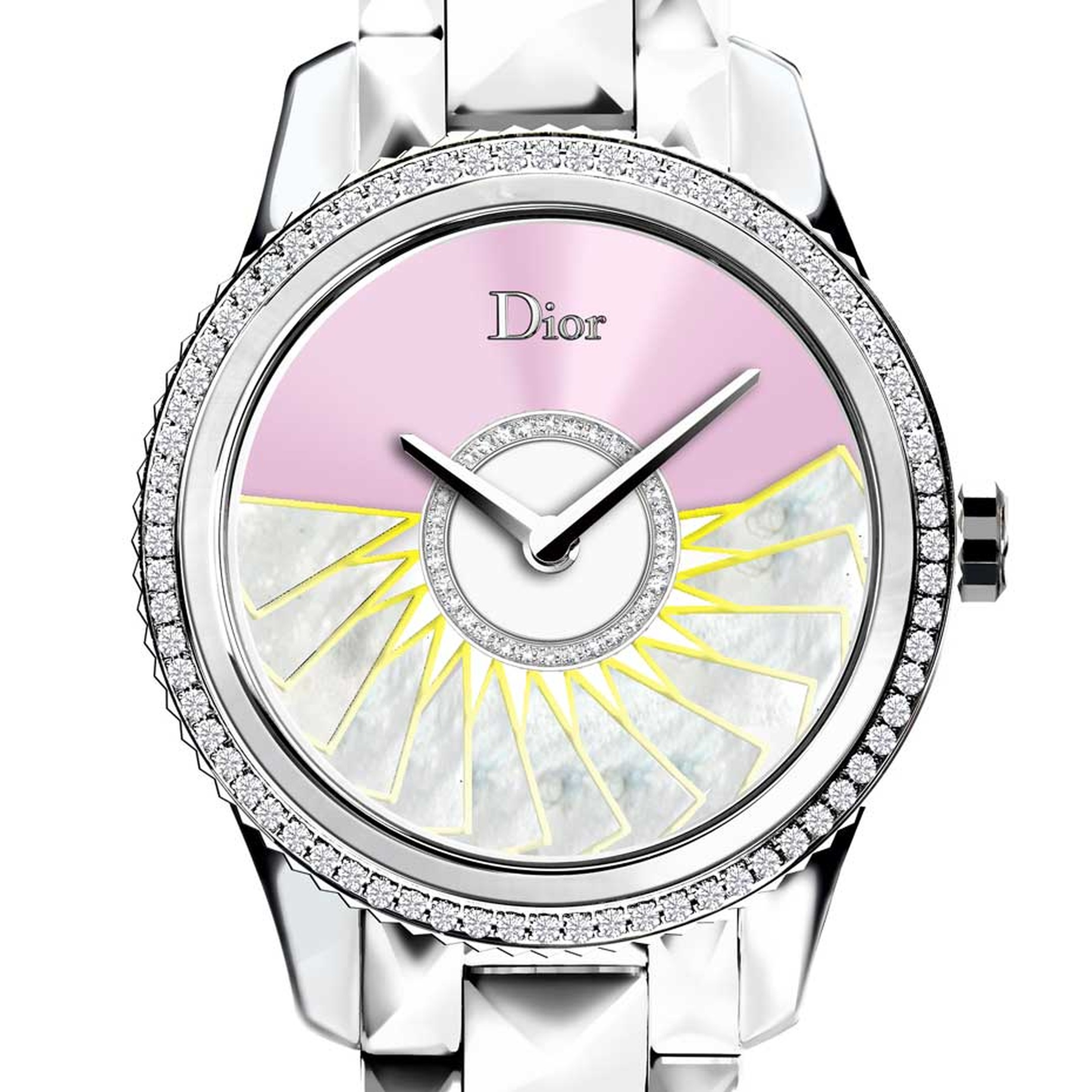 The oscillating weight on the pink Dior VIII Grand Bal Plissé Soleil watch is decorated with white mother-of-pearl marquetry, finished with yellow hems and set with diamonds.