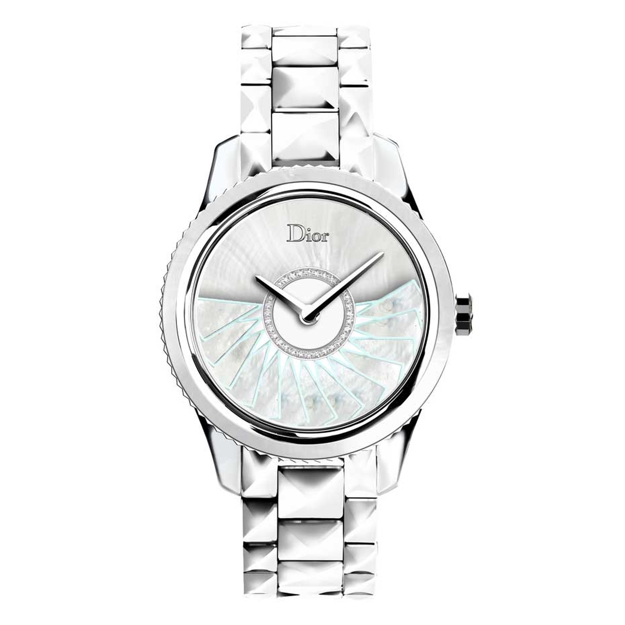 The Dior VIII Grand Bal Plissé Soleil watch in pale blue is available in a limited edition of 188 pieces. The oscillating weight mirrors the 'sweep' of a classic Dior ball gown.