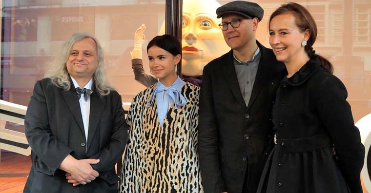 Professor Dr. Rainer Vollkommer, Miroslava Duma, Fabergé's Creative and Managing Director, Katharina Flohrstands and Simon Costin, the designer of the 23 Harrods windows stand outside one of the windows which Fabergé has taken over for its Easter event.