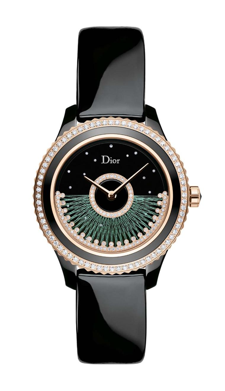 The new Dior VIII Grand Bal Fil de Soie watch is available with either green or pink silk thread. Only 88 of each version will be produced