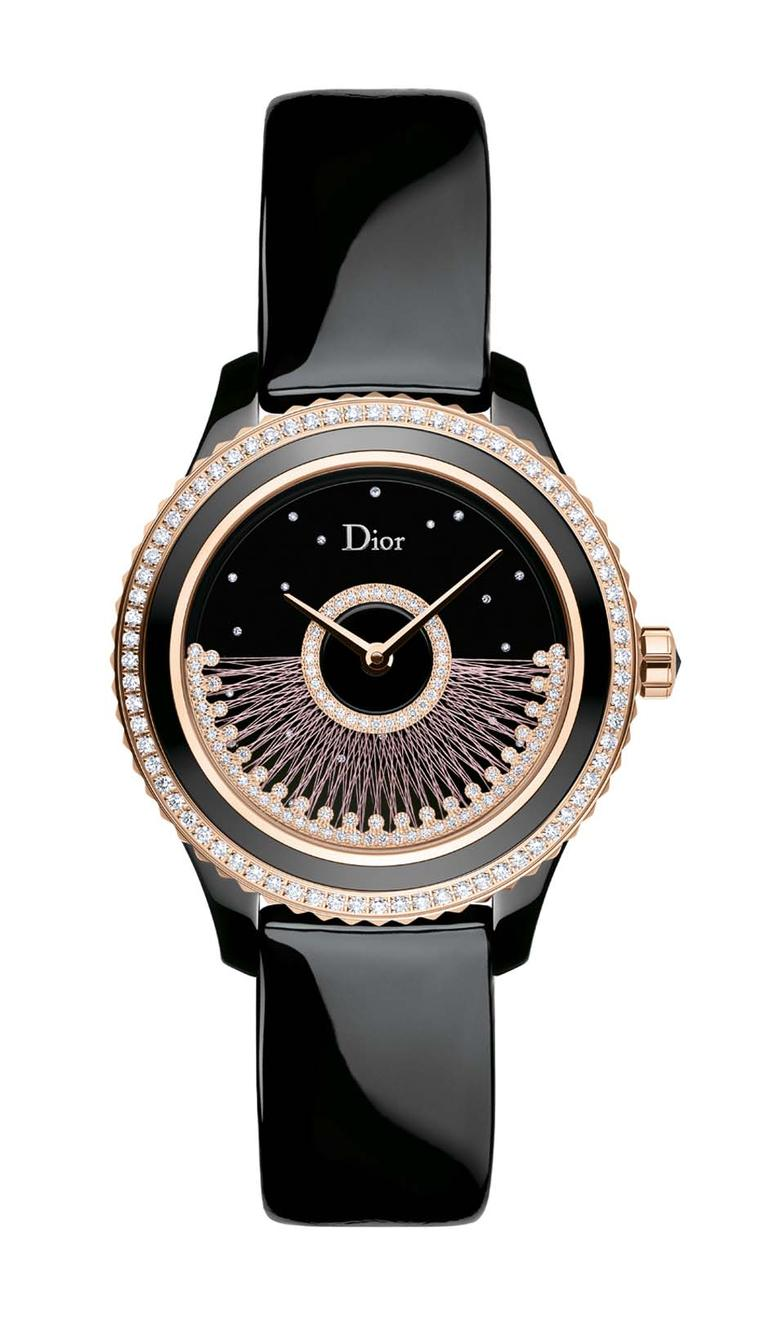 The new Dior VIII Grand Bal Fil de Soie watch is powered by an automatic movement wound via the rotor on the dial and surrounded by a pink gold bezel