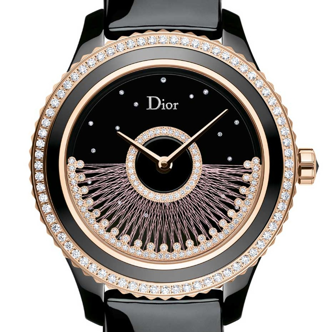 The new Dior VIII Grand Bal Fil de Soie automatic watch features a rotor - or oscillating weight - that is hand-stitched with silk thread amidst brilliant-cut diamonds