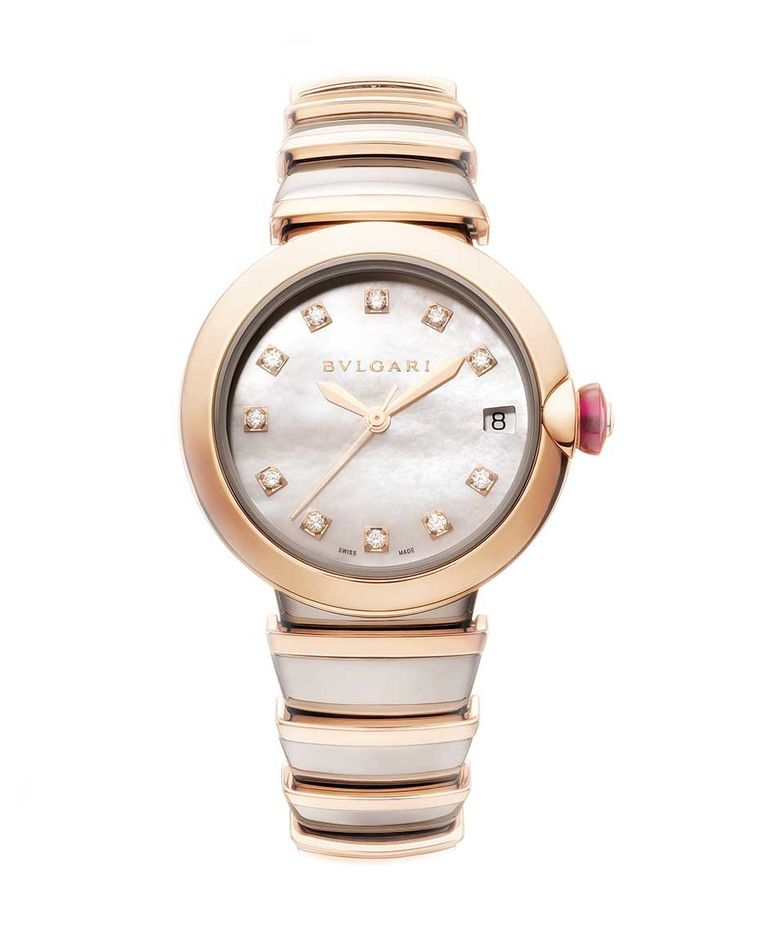 The Bulgari Lucea is the Roman jeweller's latest watch for women. This model has a pink gold and steel case and bracelet, mother-of-pearl dial, diamond hour markers and a pink gold crown set with a cabochon-cut pink gemstone and diamond