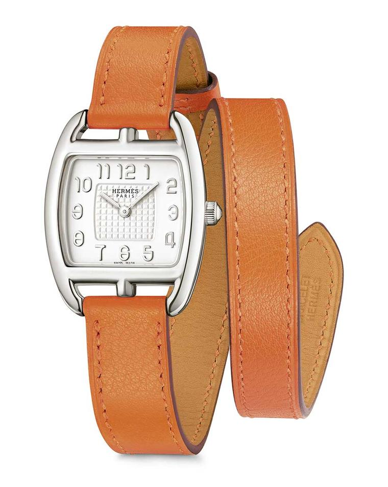 Also new for 2014 is the Hermès Cape Cod Tonneau in silver, with a double orange leather strap