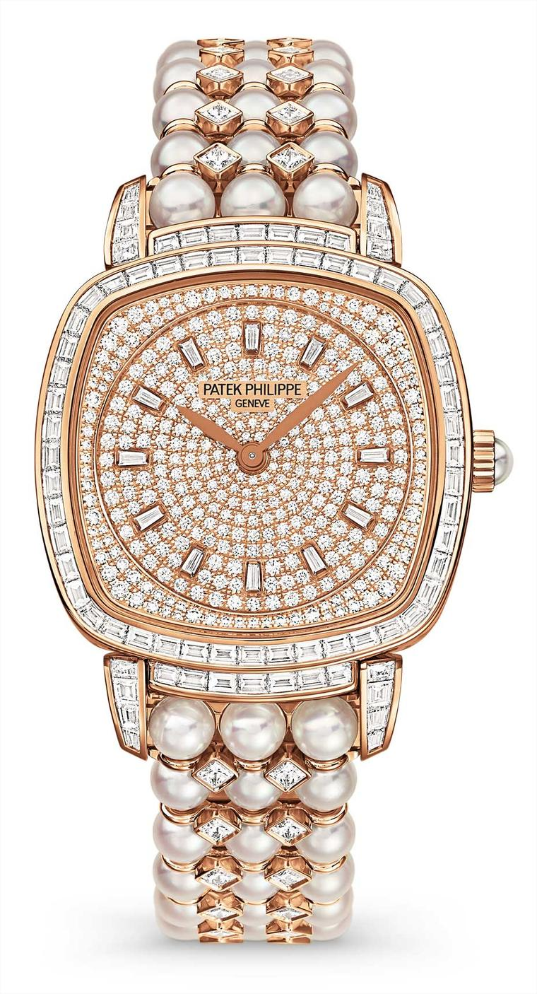 This year, Patek Philippe's Ladies Gondolo Ref. 7042/100R-001 has been generously embellished for the watchmaker's 175th anniversary gala with an evening dress of diamonds and pearls