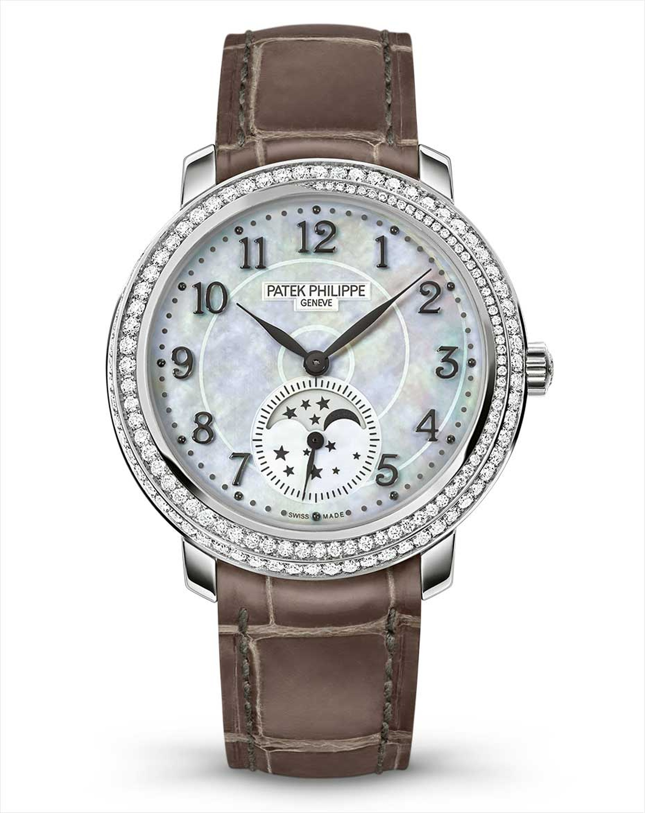Entrancing us with its iridescent white mother-of-pearl dial and cool white gold case, set with diamonds, is the new Ref. 4968G-010 from Patek Philippe's collection of three mother-of-pearl Moon phase watches