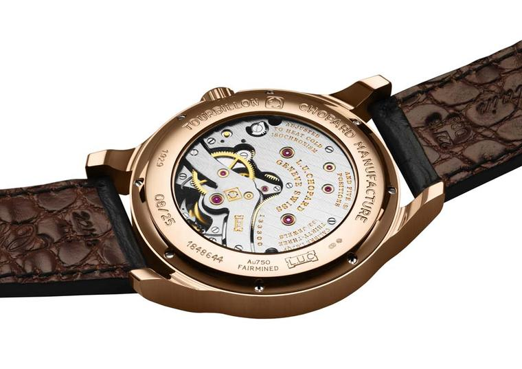 Through the sapphire crystal window on the case back of Chopard's new L.U.C Tourbillon QF Fairmined watch and you can see the Au 750 Fairmined gold certification hallmark