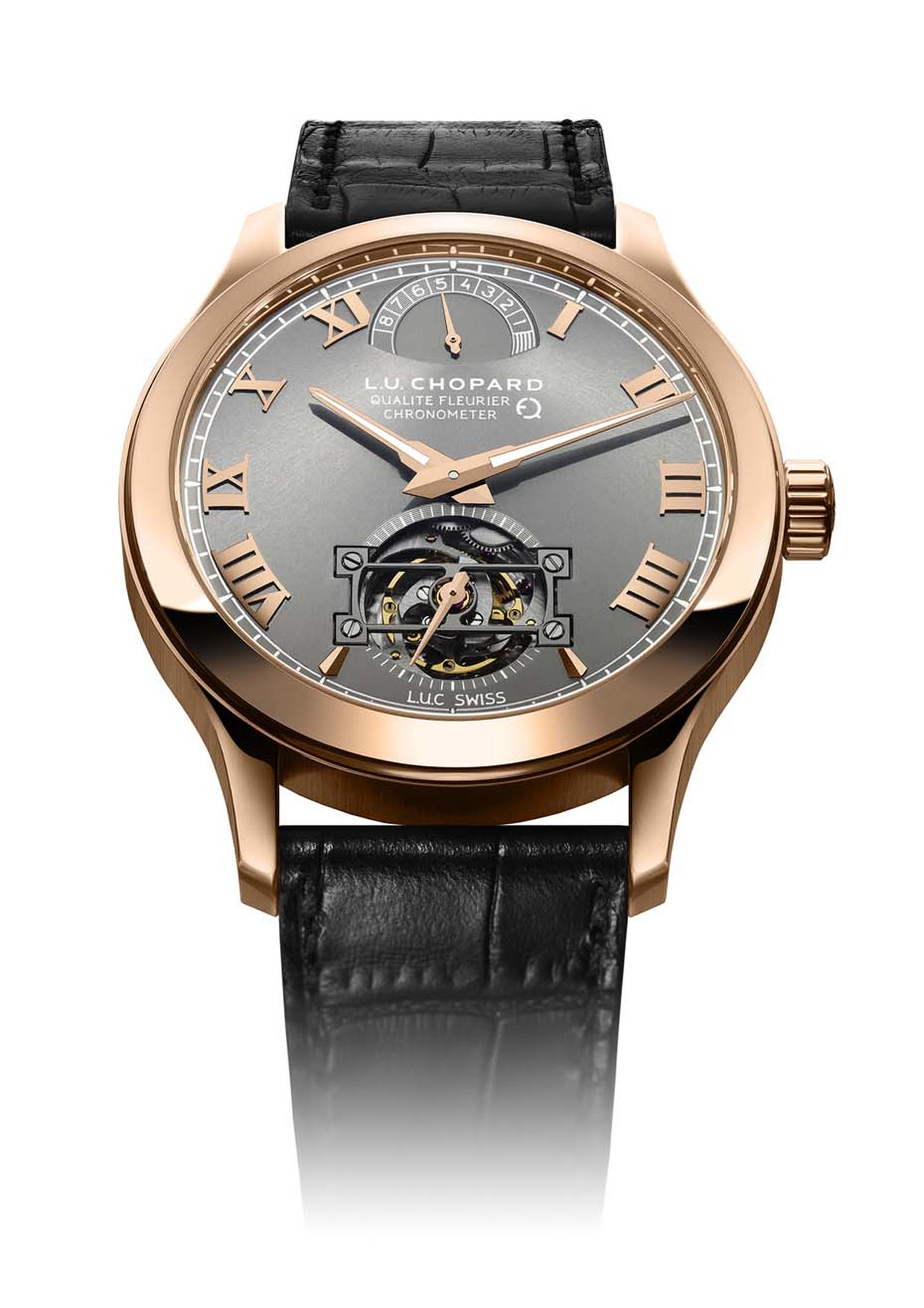 Maria's choice for best new men's watch: Chopard's handsome new L.U.C Tourbillon QF Fairmined is the only watch in the world that can guarantee the gold used in its making was mined in a responsible manner.