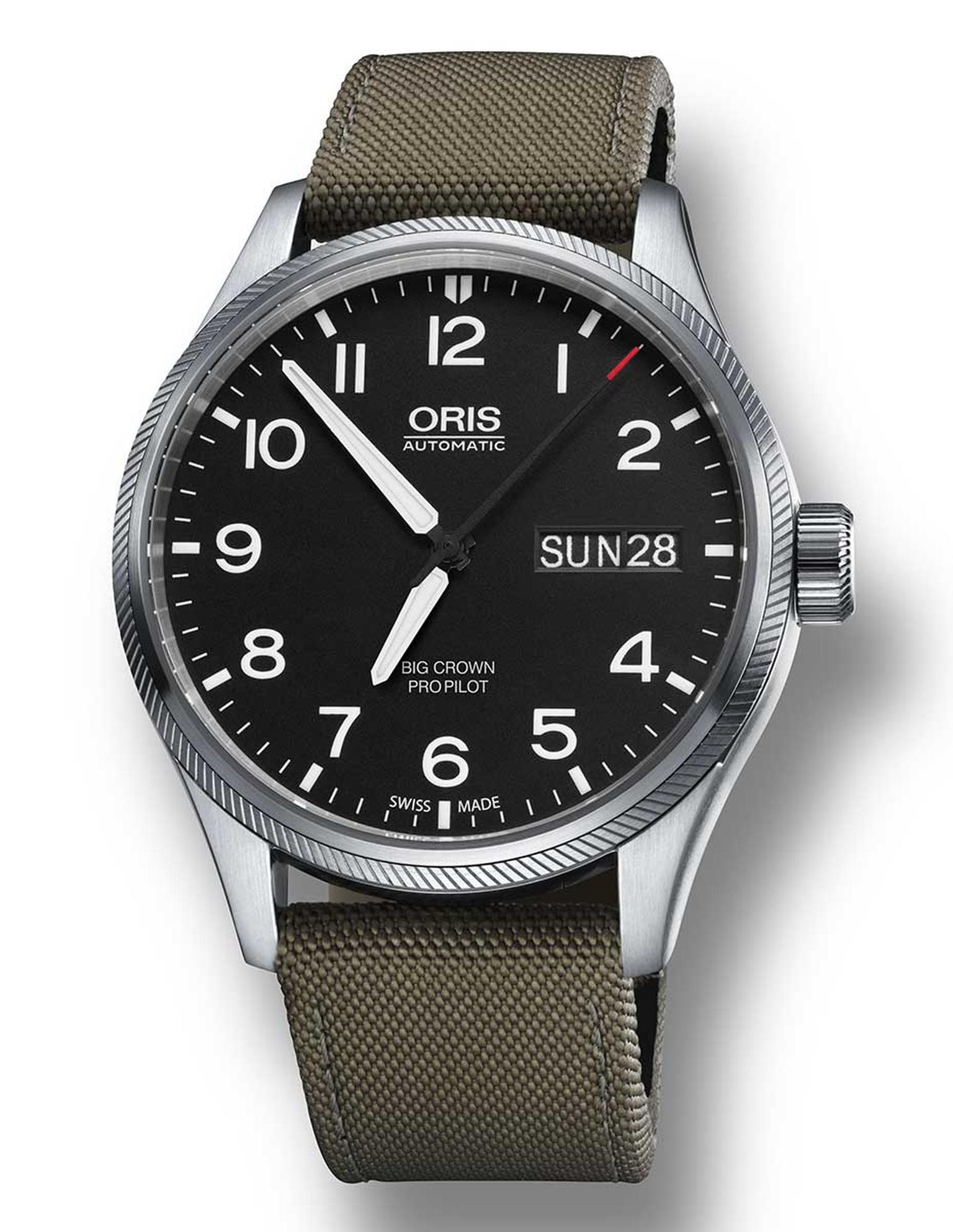 Oris has added a whole new line to its impressive collection of pilots' watches for 2014, including the automatic Big Crown ProPilot Date with a steel case, automatic movement, black dial and olive fabric strap