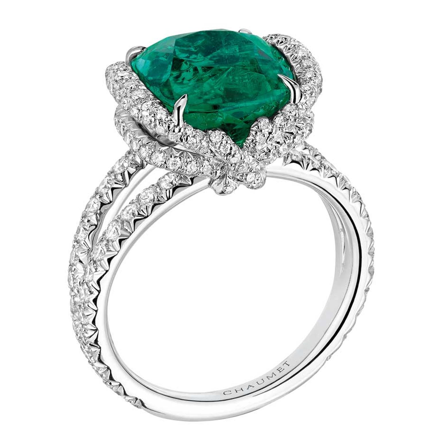 Chaumet Liens high jewellery ring in white gold featuring 147 brilliant-cut diamonds and a 6.42ct cushion-cut emerald