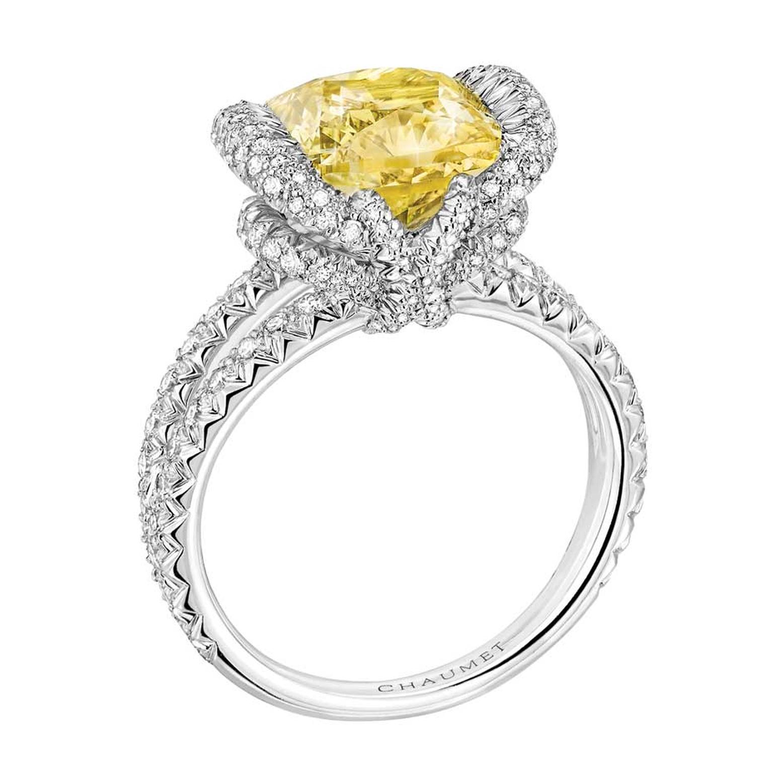 Chaumet Liens high jewellery ring in white gold featuring 144 brilliant-cut diamonds and a 3.41ct cushion-cut yellow diamond