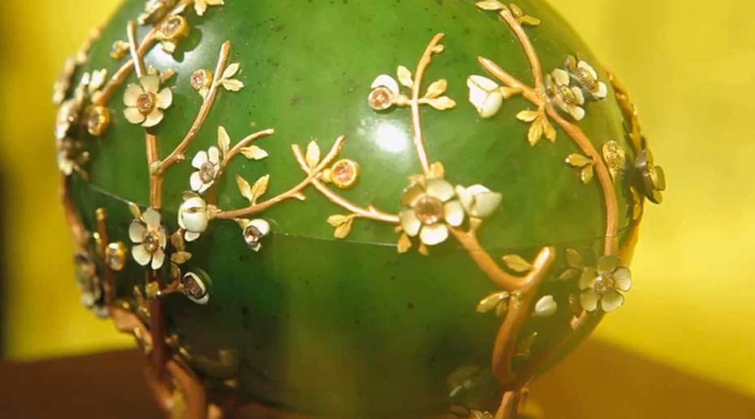 The 1901 Fabergé Apple Blossom Easter Egg, currently on show at Harrods as part of the 'A Fabergé Easter at Harrods' event, is rumoured to be worth £30 million