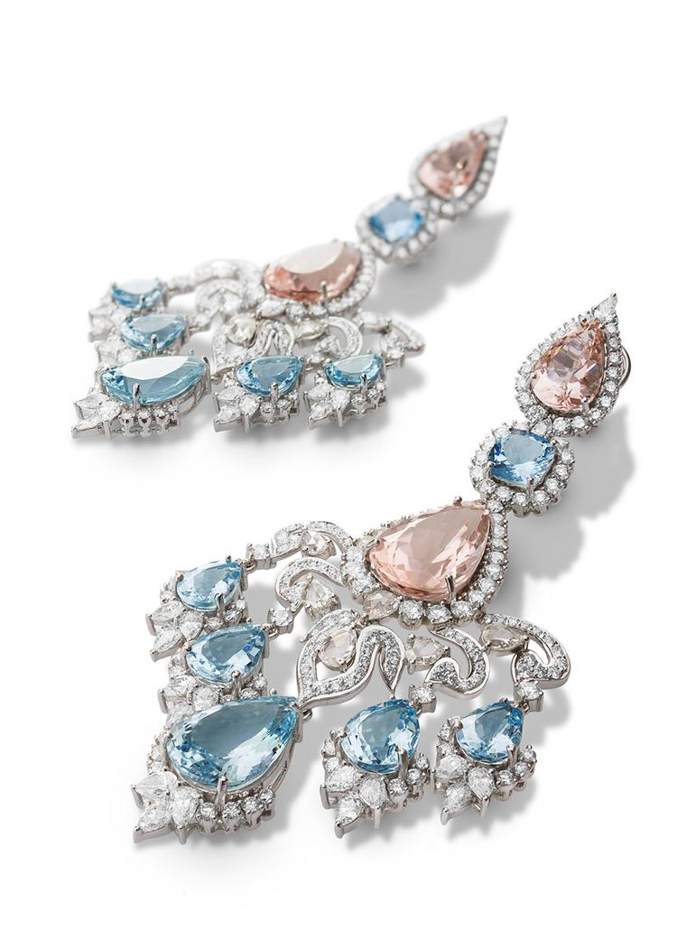 Farah Khan gold earrings featuring diamonds (16.76ct), aquamarine (31.50ct) and morganite (31.44ct).