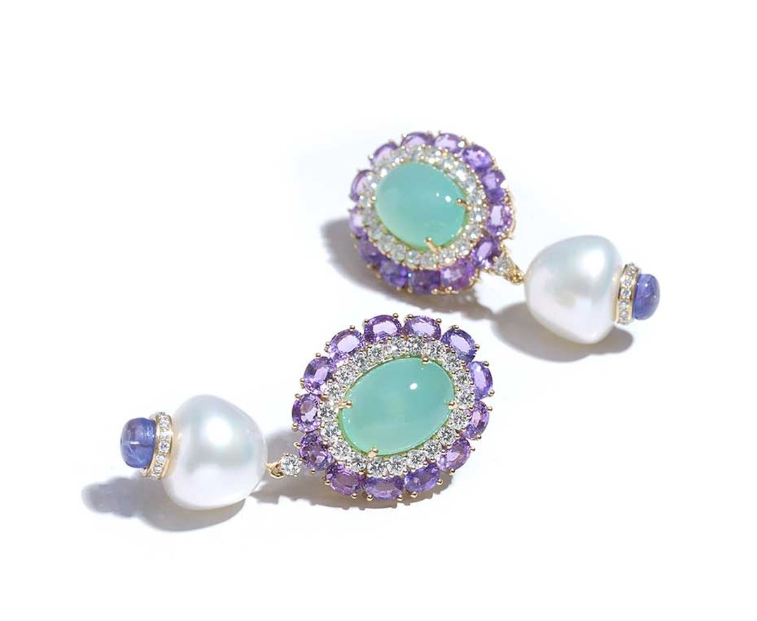 Farah Khan gold earrings featuring diamonds, sapphires (11.85ct), chrysoprase (14.85ct), South Sea pearls (44.37ct) and tanzanite (3.36ct).