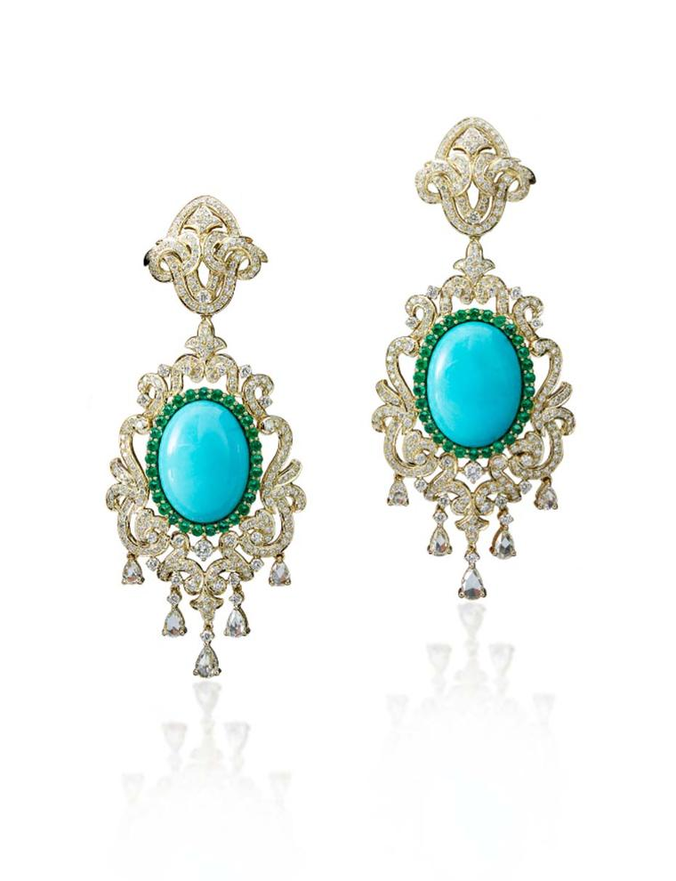 Farah Khan gold earrings featuring diamonds, emeralds and turquoise.