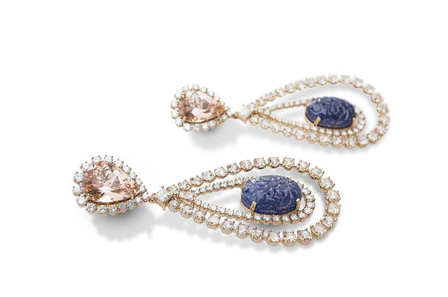Farah Khan gold earrings featuring diamonds (11.59ct), morganite (11.59ct) and sapphires (34.81ct).