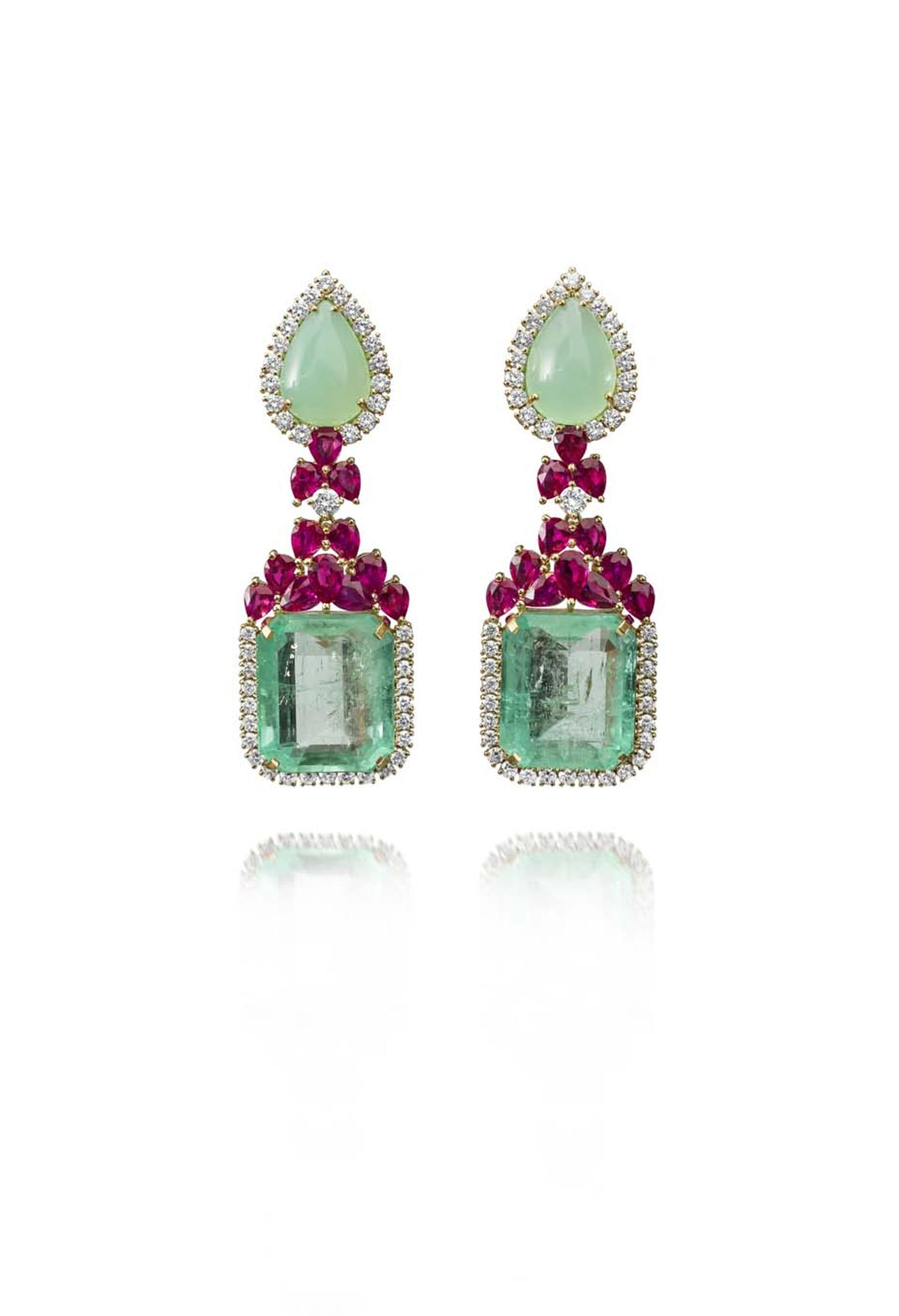 Farah Khan gold earrings featuring diamonds (3.46ct), rubies (9.02ct), chrysoprase (14.22ct) and emeralds (43.97ct).