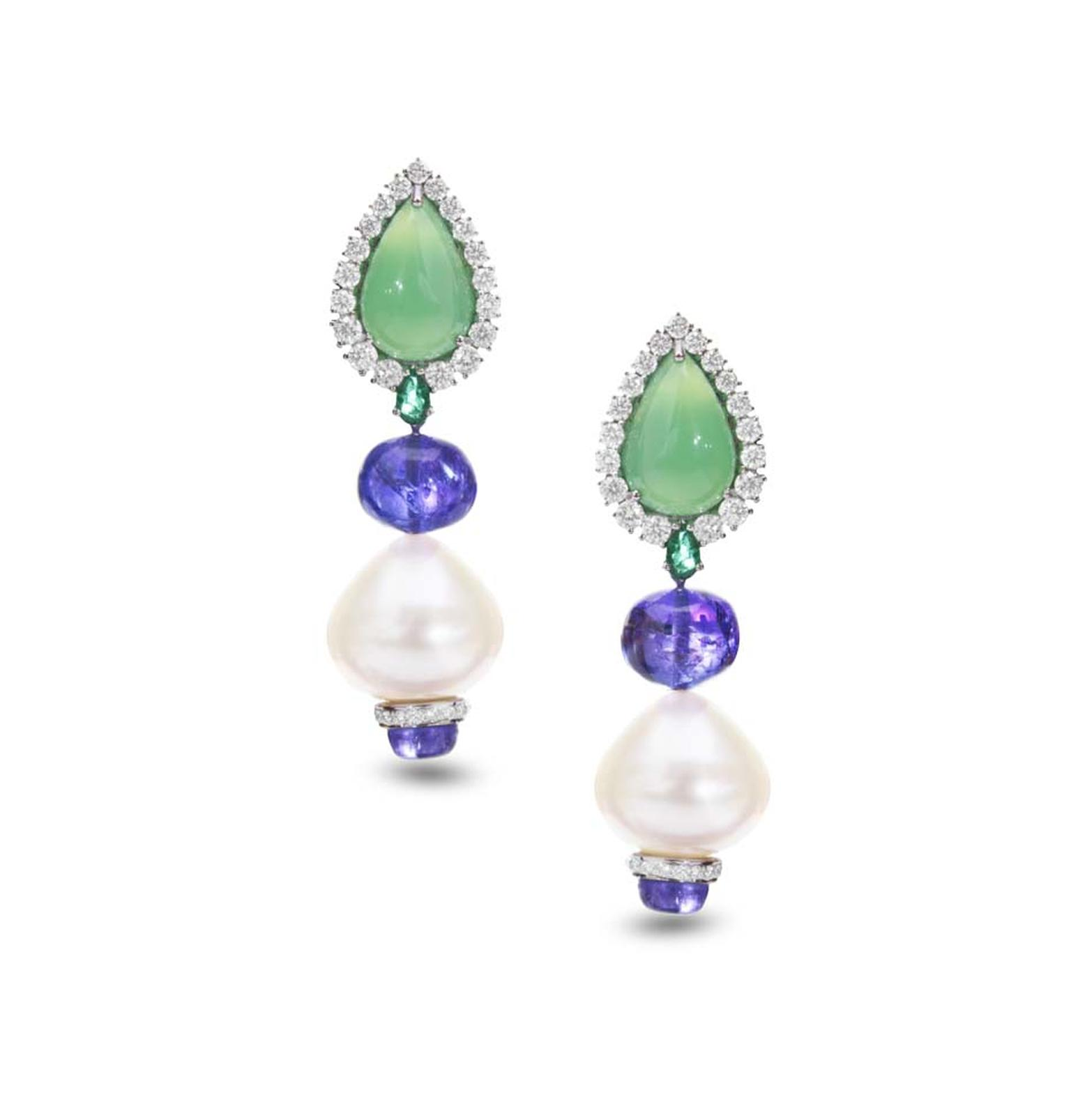 Farah Khan gold earrings featuring diamonds, emeralds, chrysoprase (10.63ct), tanzanites (24.78ct) and South Sea pearls (53.83ct).