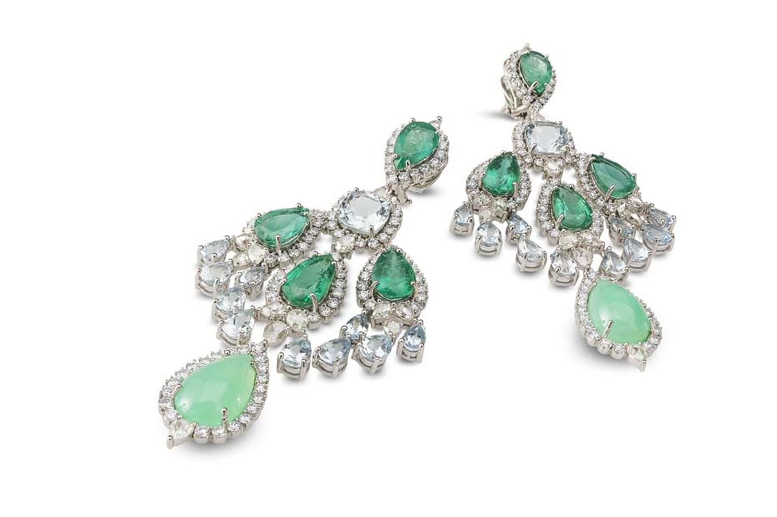 Farah Khan gold earrings featuring diamonds (11.03ct), chrysoprase (14.98ct), aquamarine (15.44ct) and emeralds (22.91ct).
