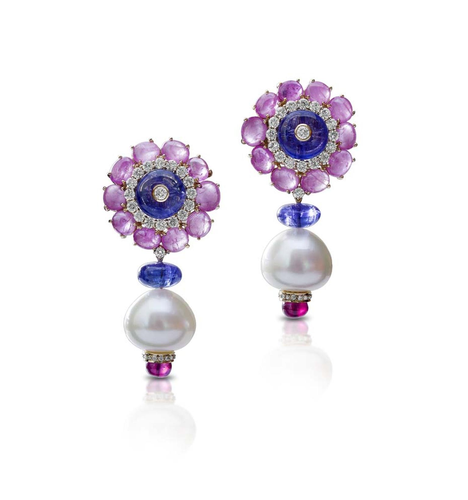 Farah Khan gold earrings featuring diamonds, tanzanites (16.66ct), sapphires (23.79ct), rubies (3.07ct) and South Sea pearls (55.93ct).