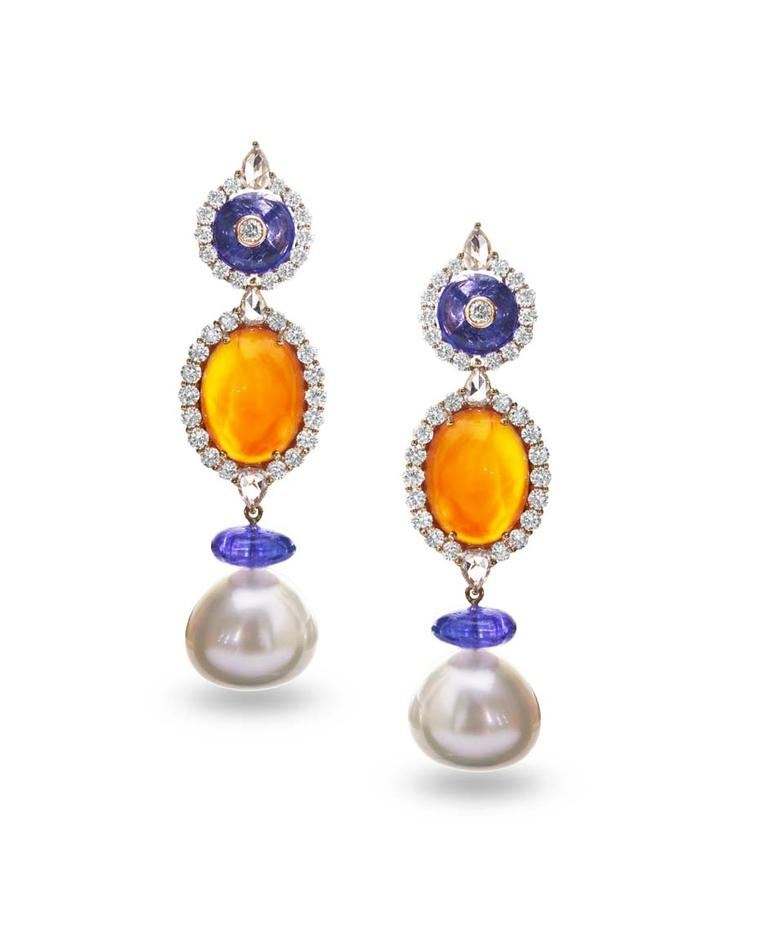 Farah Khan gold earrings featuring diamonds (4.54ct), tanzanites (16.30ct), carnelian (18.93ct) and South Sea pearls (50.09cts).