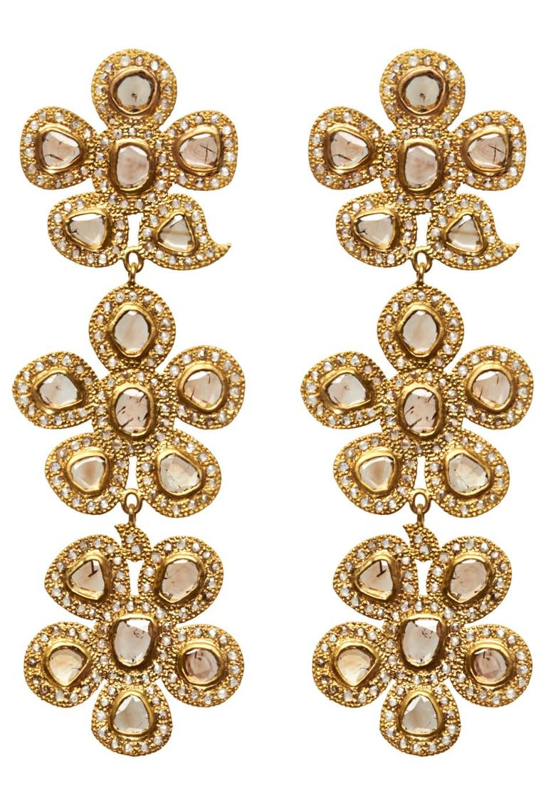 Coomi Three Drop Flower earrings in gold with diamonds.