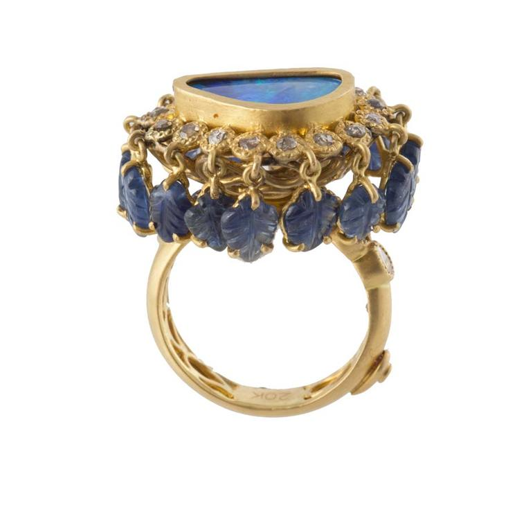 Coomi gold and opal Flower ring.