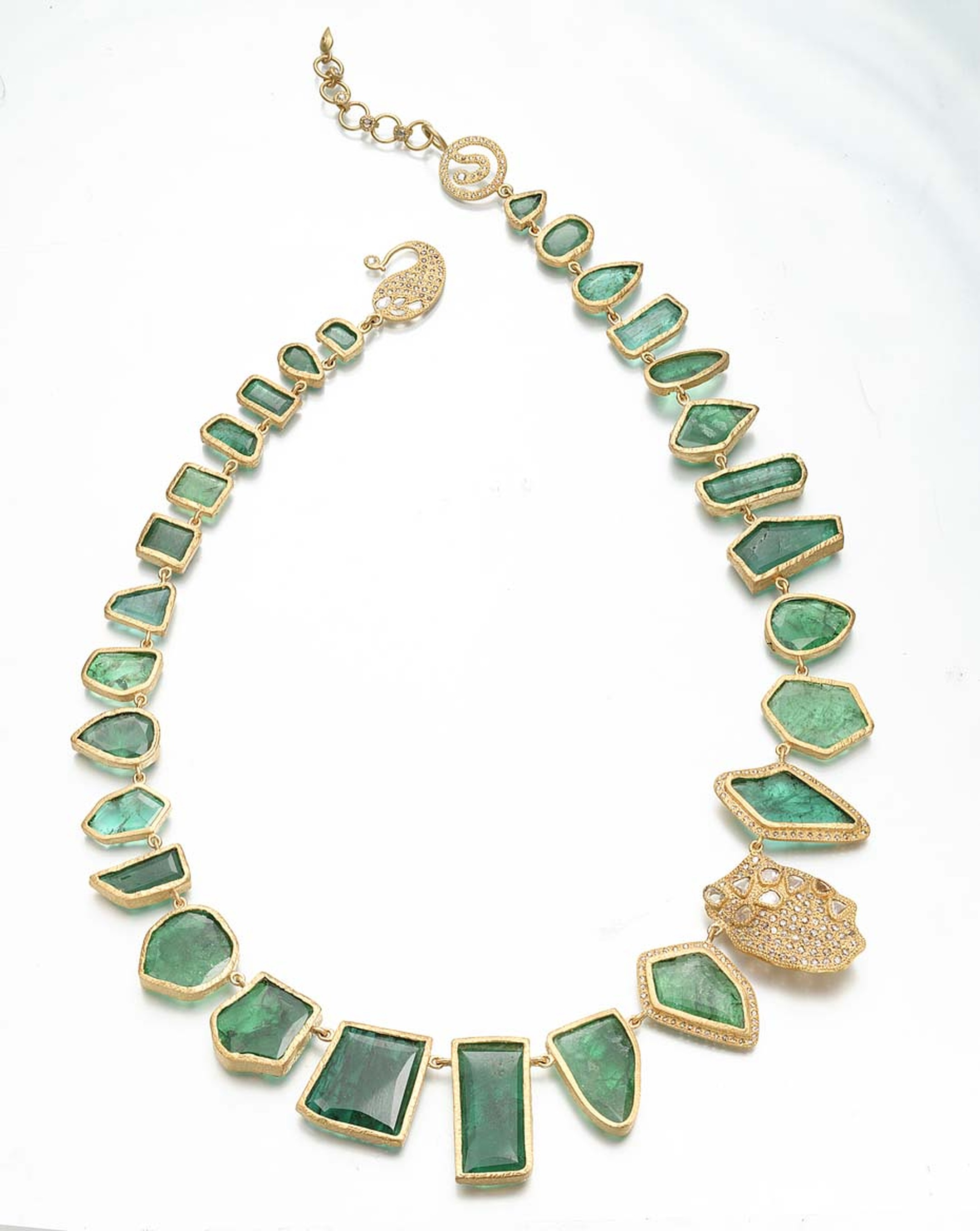 Coomi Antiquity necklace in gold with emerald slices and diamonds.