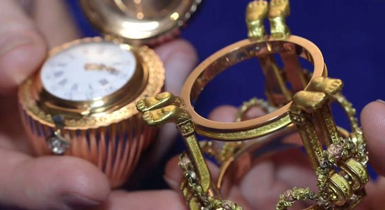 The Imperial Fabergé Easter Egg contains a Vacheron Constantin watch with diamond-set gold hands.