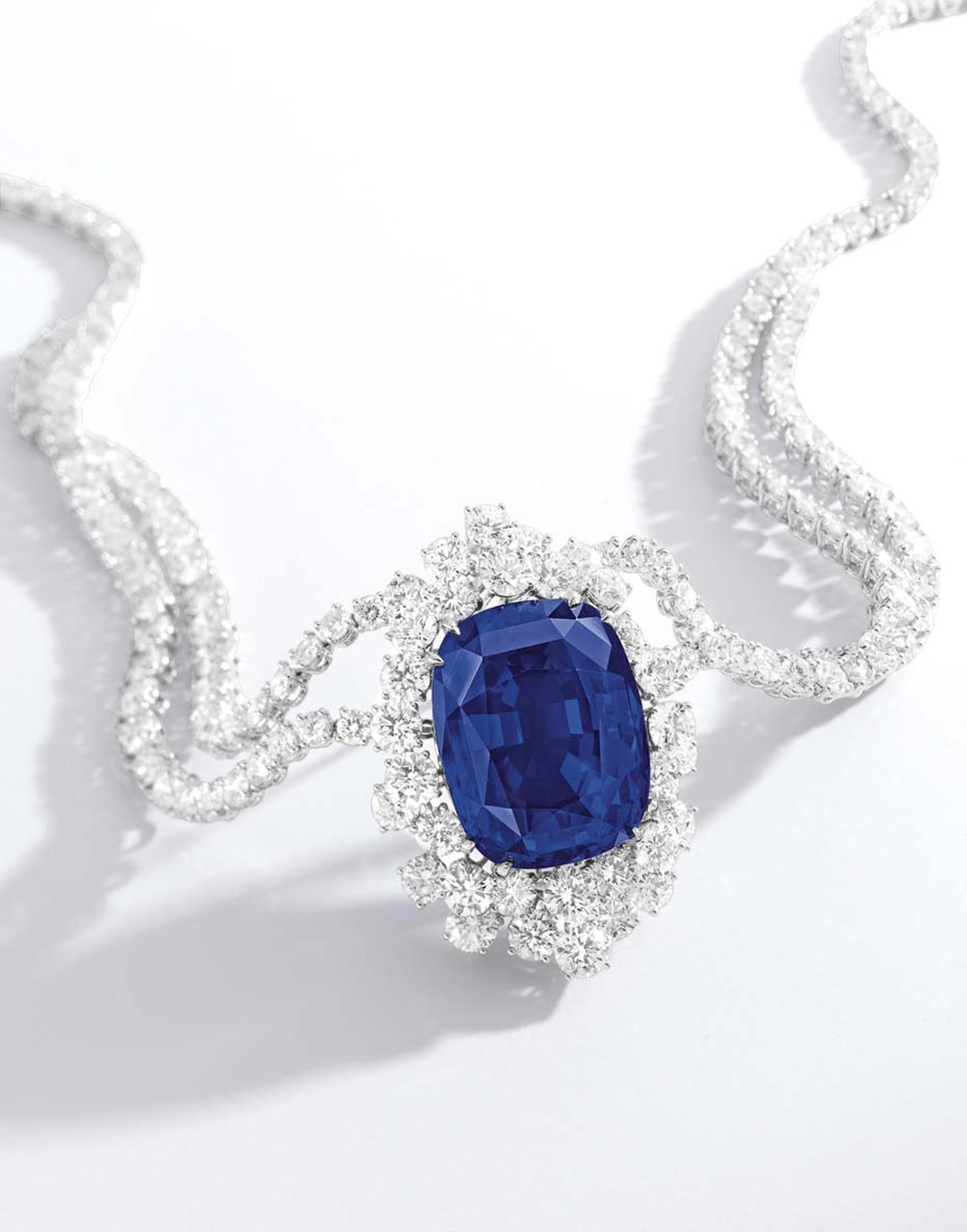 A royal blue sapphire and diamond necklace (102.61ct) completely free of heat treatment and virtually inclusion-free was sold for US$4,179,487 million.