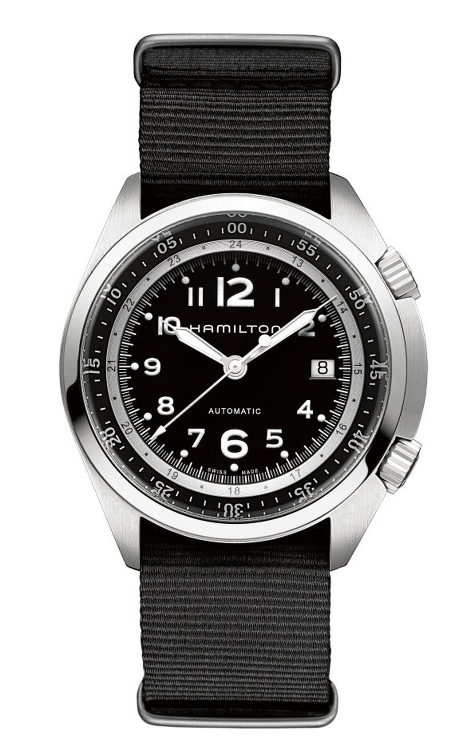 Hamilton's 80-hour power reserve steel Khaki Pilot Pioneer featuring a black NATO fabric strap.
