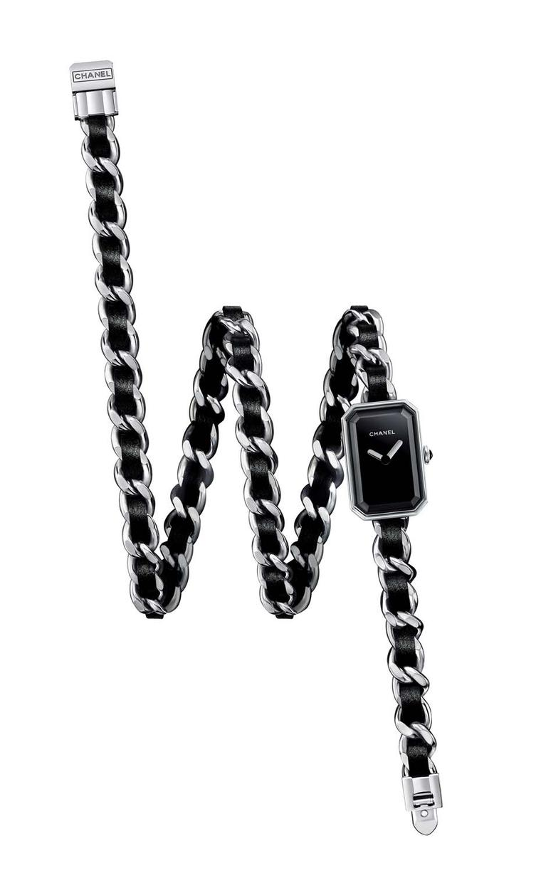 Chanel's Premiere Triple Row bracelet watch features a steel triple row chain interwoven with black leather ribbons.