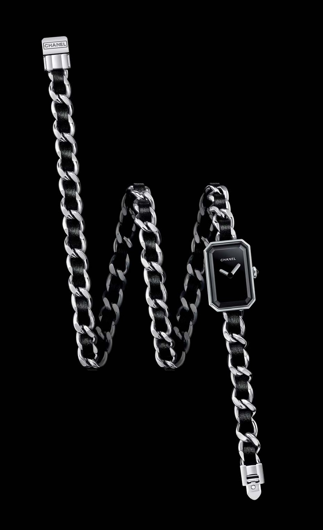 Chanel's Premiere Triple Row bracelet watch features a black lacquered dial and a crown set with an onyx cabochon.