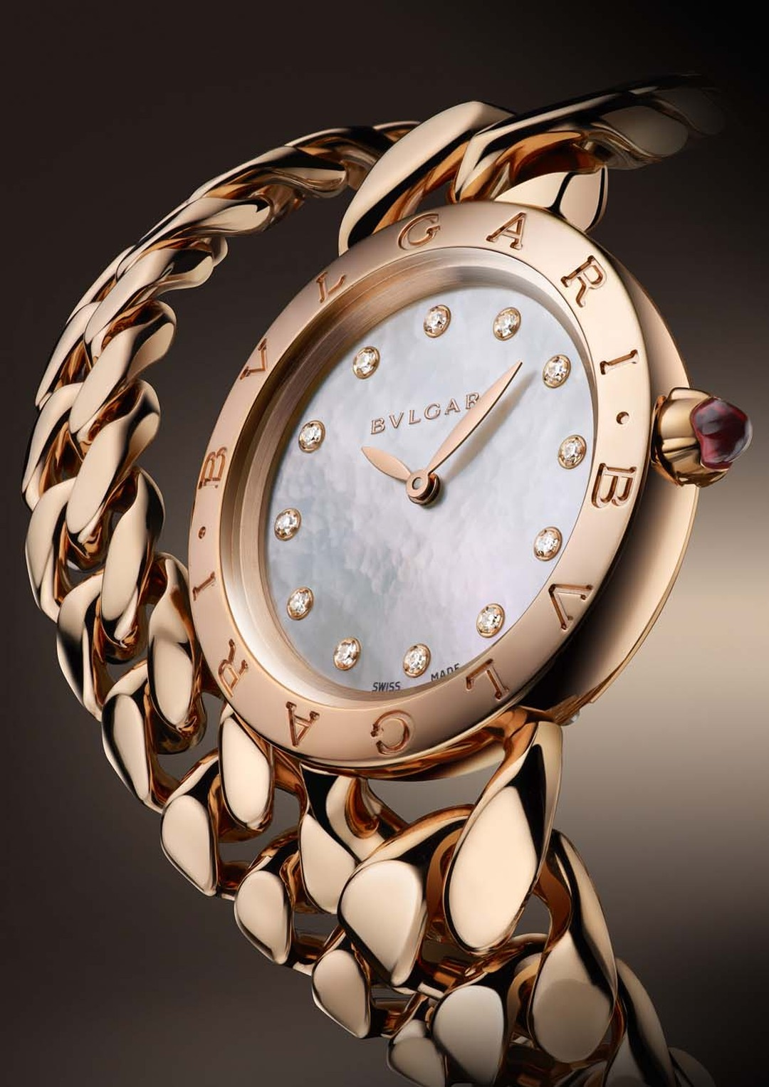The new Bulgari Catene bracelet watch features a white mother-of-pearl dial set with 12 brilliant-cut diamonds.