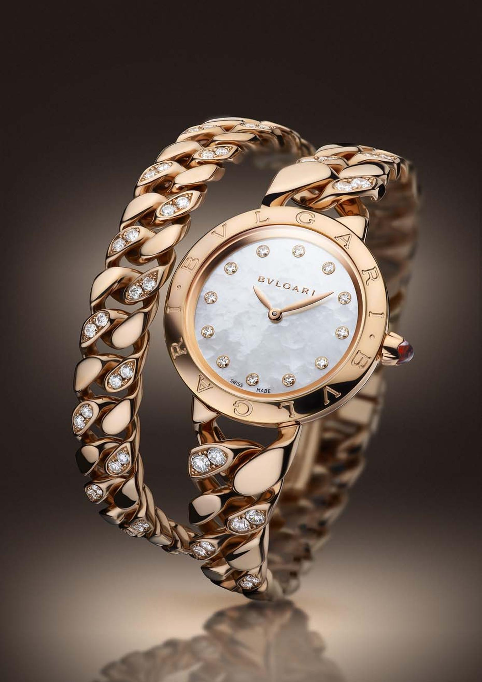 The rose gold Bulgari Catene bracelet watch with a Calibre B046 Swiss quartz movement, created especially for the Italian jewellery house.