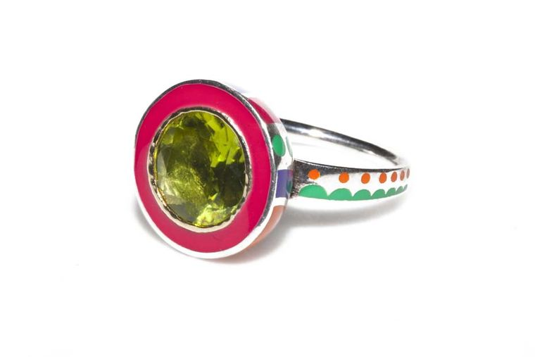 Alice Cicolini Memphis ring with a centre peridot is made with Fairtrade silver and gold.