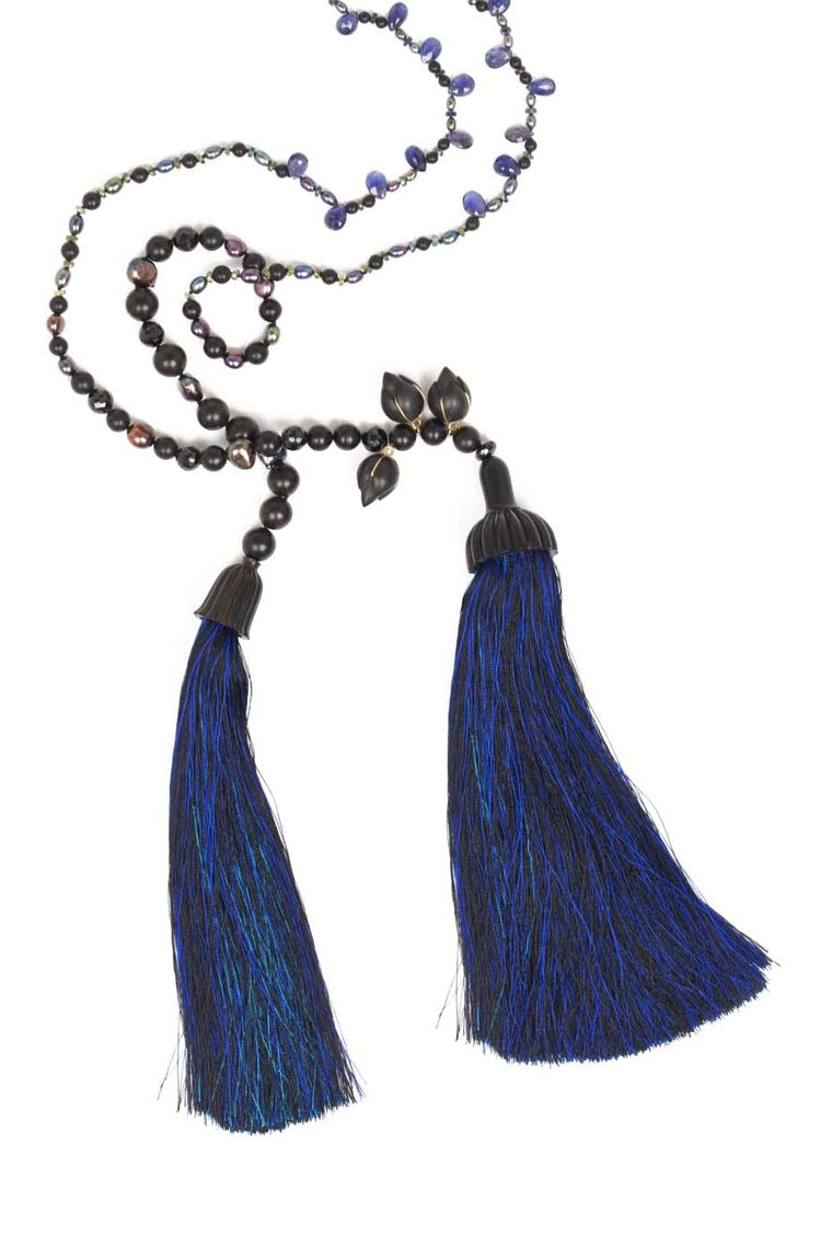 Alice CicoliniTriple Lotus Tassel Lariat featuring freshwater cultured pearls, sapphire and ebony beads, with three carved Indonesian ebony lotus buds, each end terminating in a carved ebony dome with a blue and black silk tassel.