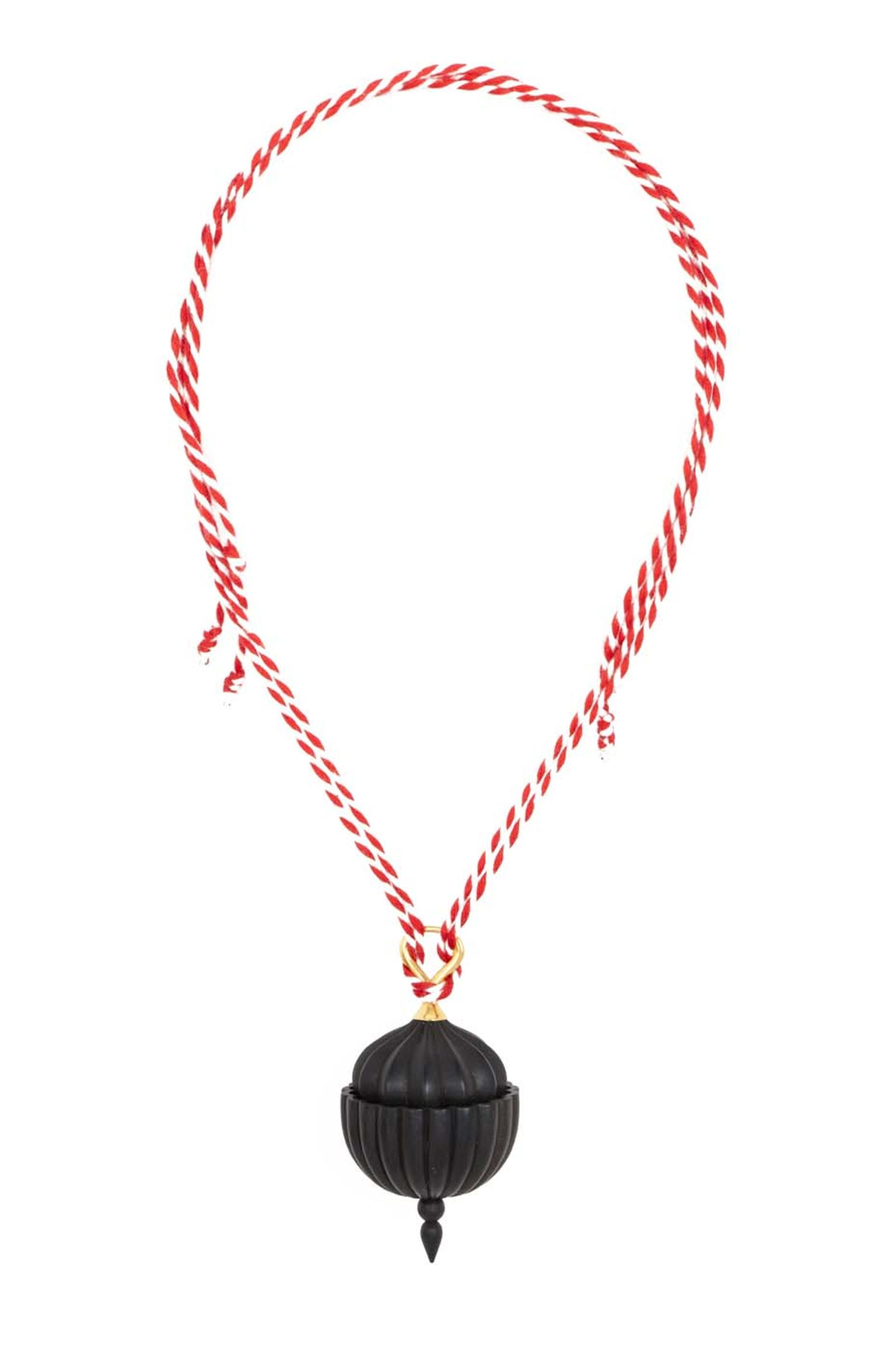 Alice Cicolini gold Double Temple Necklace features carved black ebony, fine white diamonds and a red silk cord.