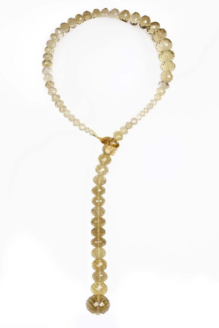 Gurmit Campbell Amazon necklace featuring faceted lemon topaz.