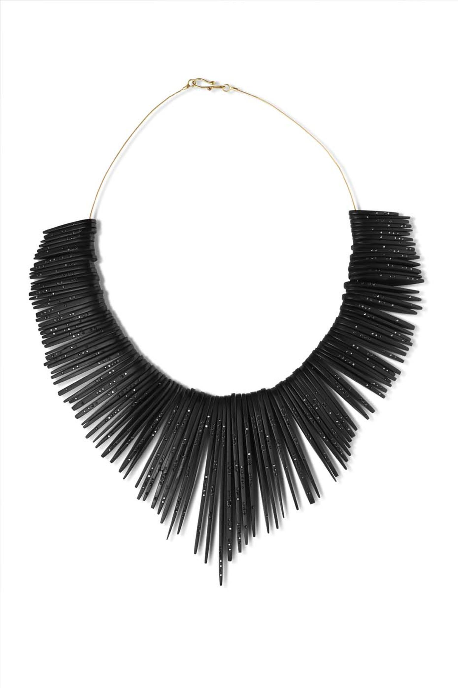 Jacqueline Cullen limited edition hand-cut Whitby jet feather collar.