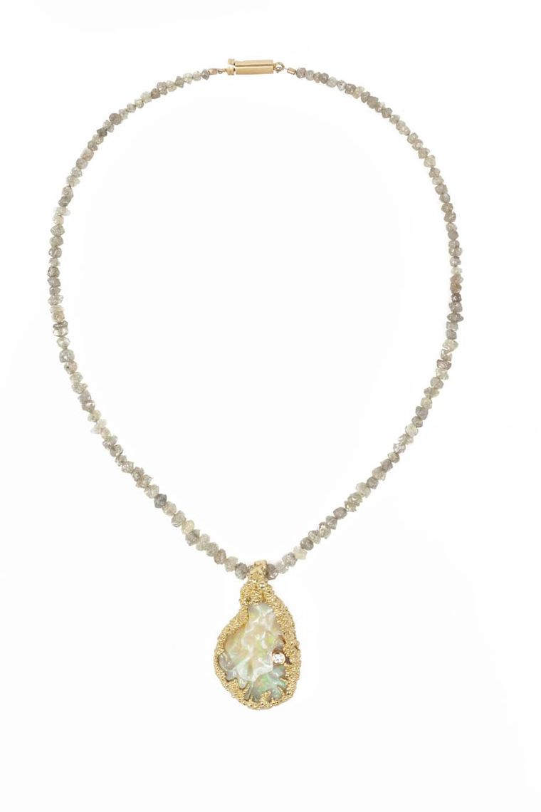 Ornella Iannuzzi Blue Nile Falls necklace featuring a hand-carved Wello opal (20ct) set in gold with a single brilliant-cut diamond.