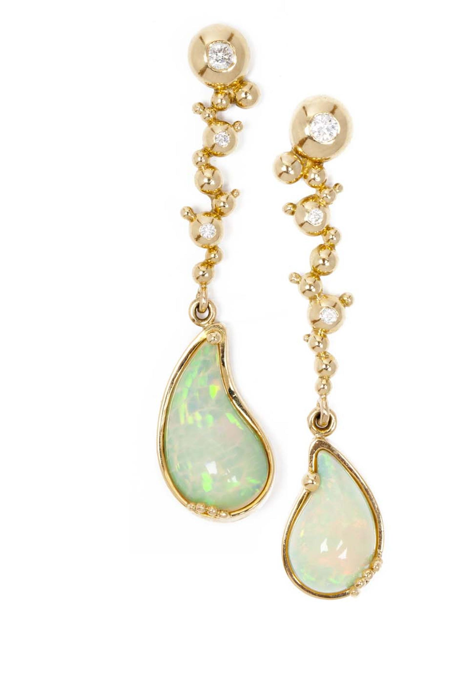 Ornella Iannuzzi Holy Water gold earrings featuring opal cabochons (5.5ct) and diamonds.